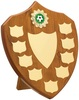 """10'' Maple 9 Year Budget Presentation Shield , IMPORTANT - TWO PART ORDER - 1) Click <a href=""""http://graveshamtrophycentre.com/catalogue/1001,0,0-medals-ribbons-boxes"""">Here</a> to order a Centre for this product. 2) Return to this tab to order the Product."""