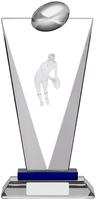 8.75 ''  Pinnacle Glass Rugby Award