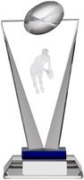 7.25 ''  Pinnacle Glass Rugby Award