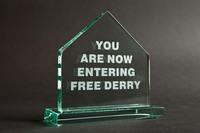 Free Derry Corner - Glass Plaque - Straight Edge, Blue Casket Box