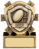 3'' Mini Shield Rugby Award Antique Gold
