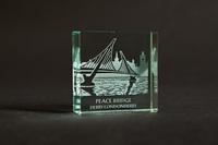 Peace Bridge - Glass Block - Small -, Black Casket Box